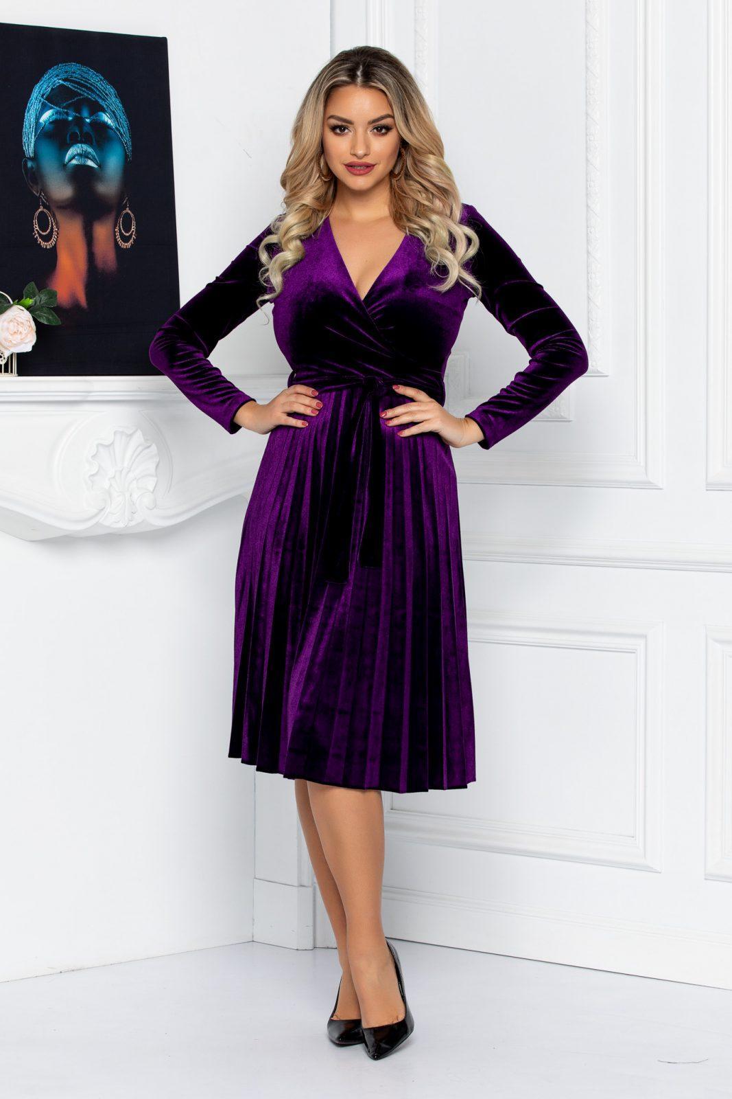 Βιολετί Πλισέ Φόρεμα Από Βελούδο Tianna 8633 1