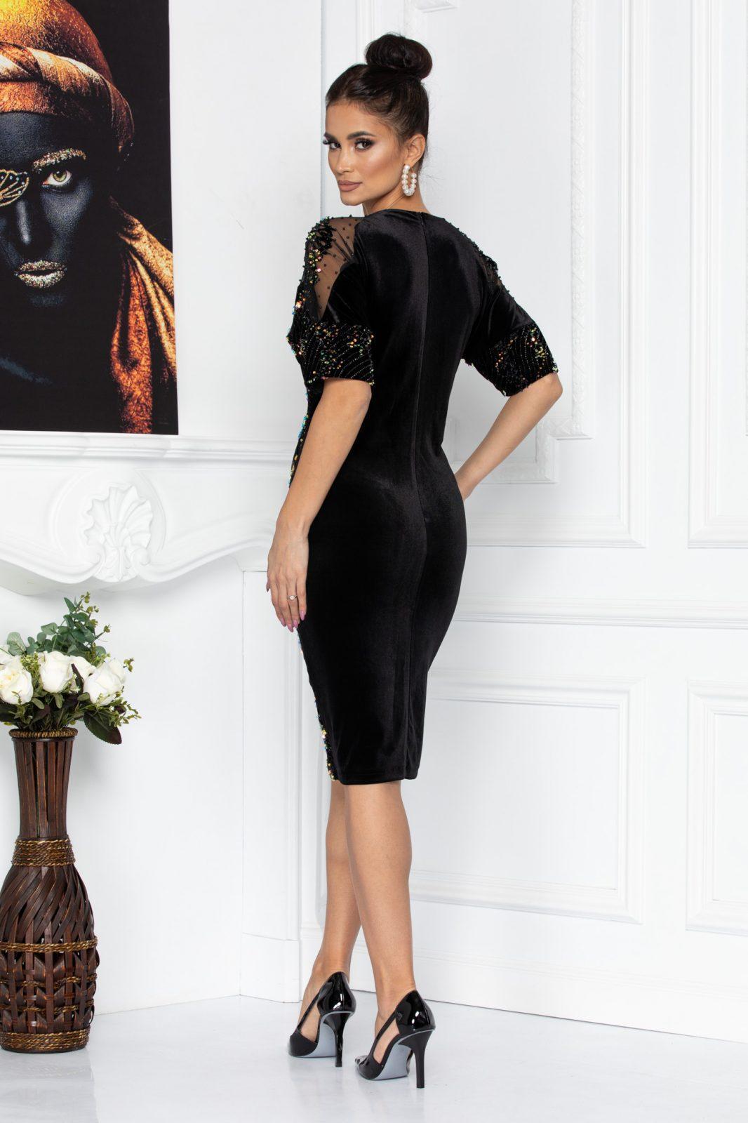 Μαύρο Φόρεμα Με Πούλιες Fati 8630 1
