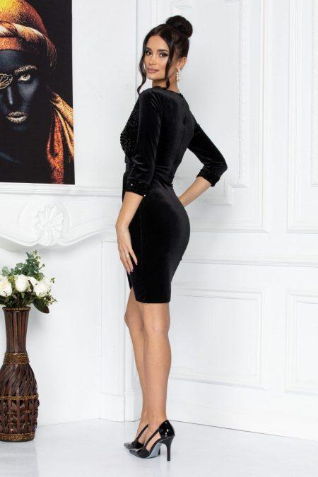 Μαύρο Κρουαζέ Φόρεμα Από Βελούδο Alegria 8696