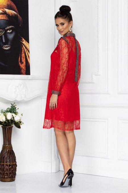 Κόκκινο Φόρεμα Από Δαντέλα Konnie 8710