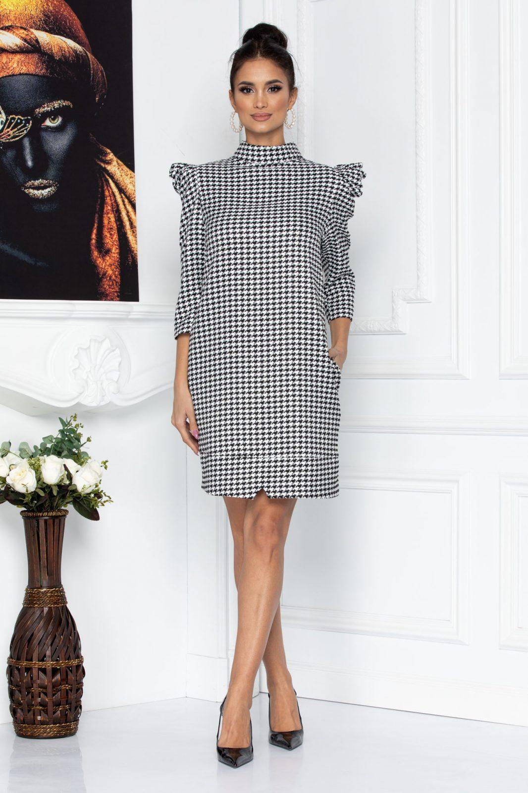 Ασπρόμαυρο Καρό Φόρεμα Karla 8733 2