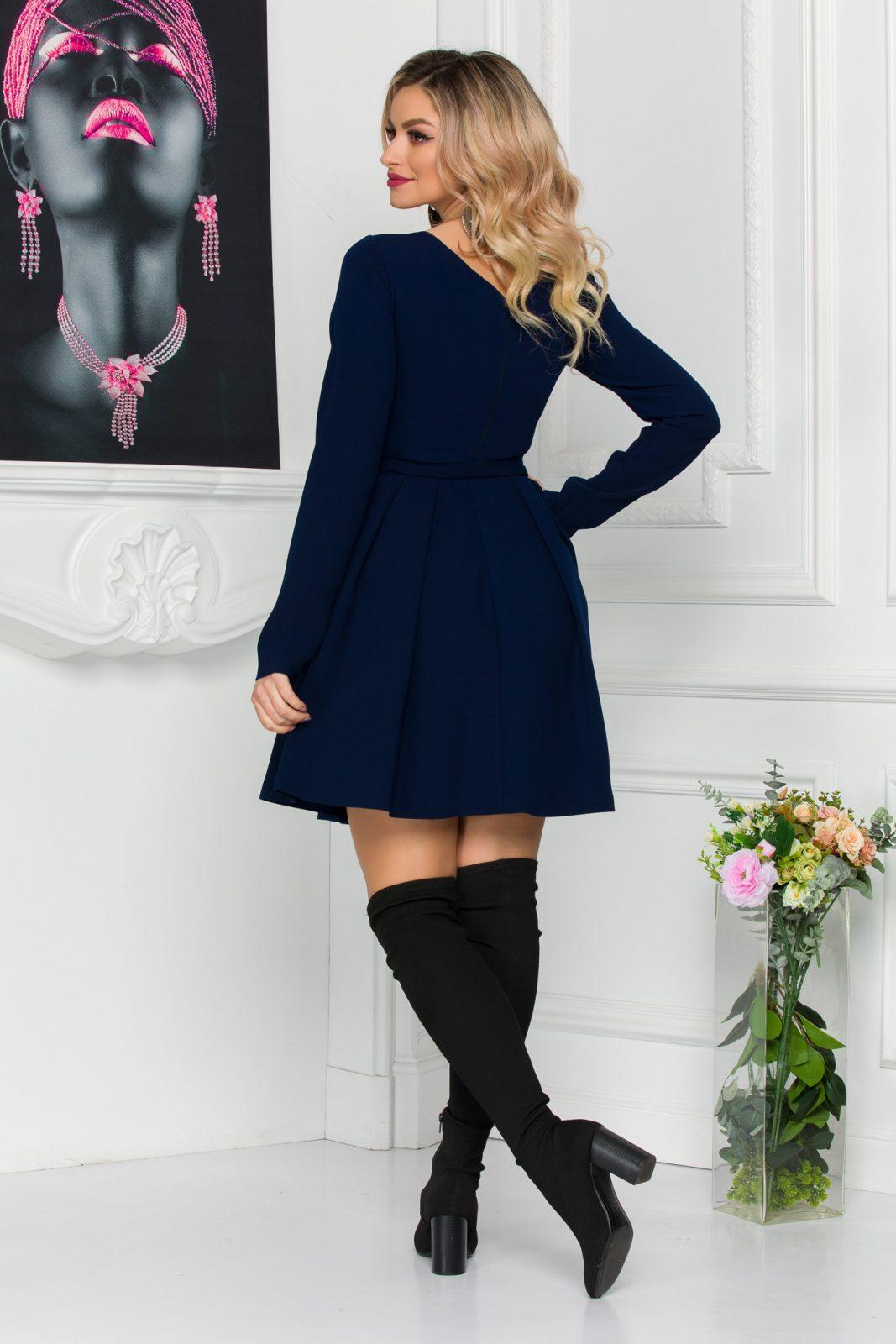 Μπλε Μακρυμάνικο Φόρεμα Anabell 8843 2