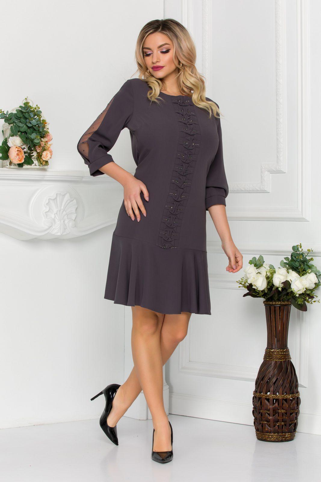 Γκρι Φόρεμα Με Βολάν Evie 8866 2