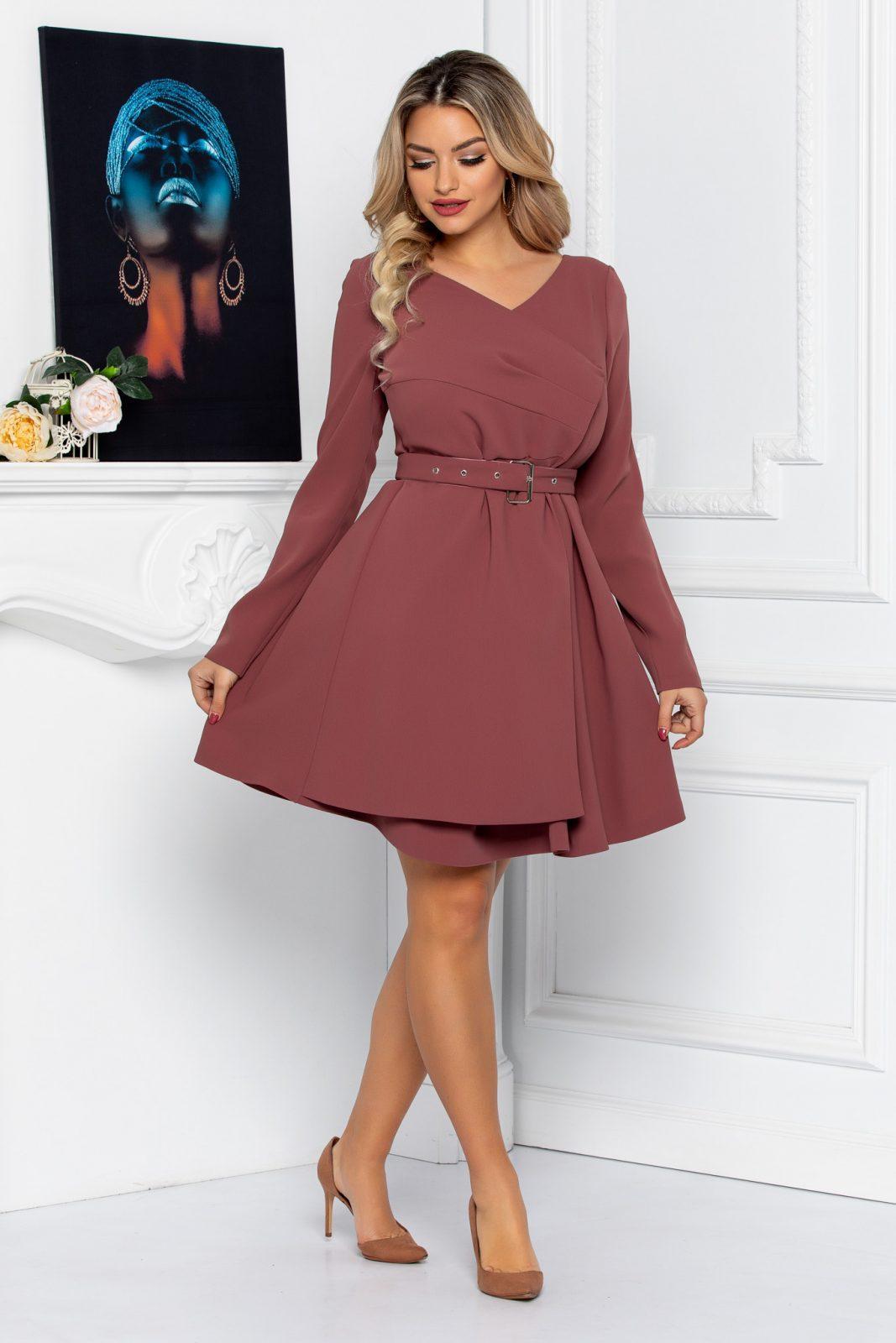 Καφέ Μακρυμάνικο Φόρεμα Anabell 8734
