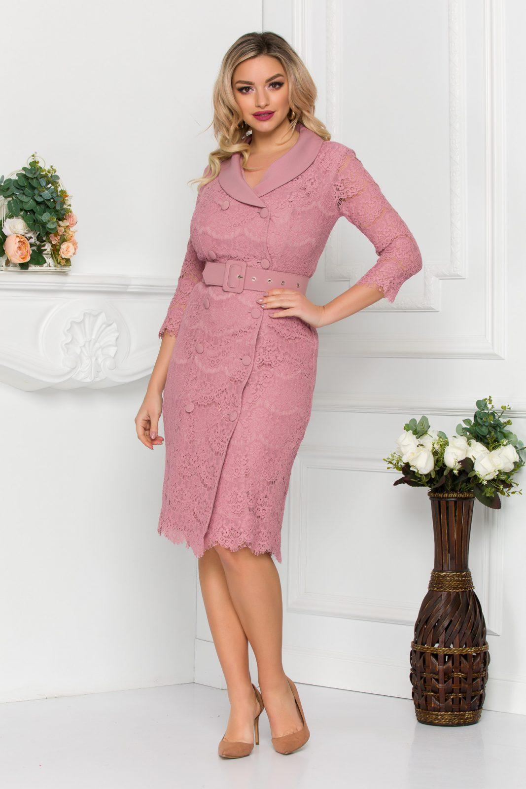 Ροζ Φόρεμα Από Δαντέλα Ida 8813 2