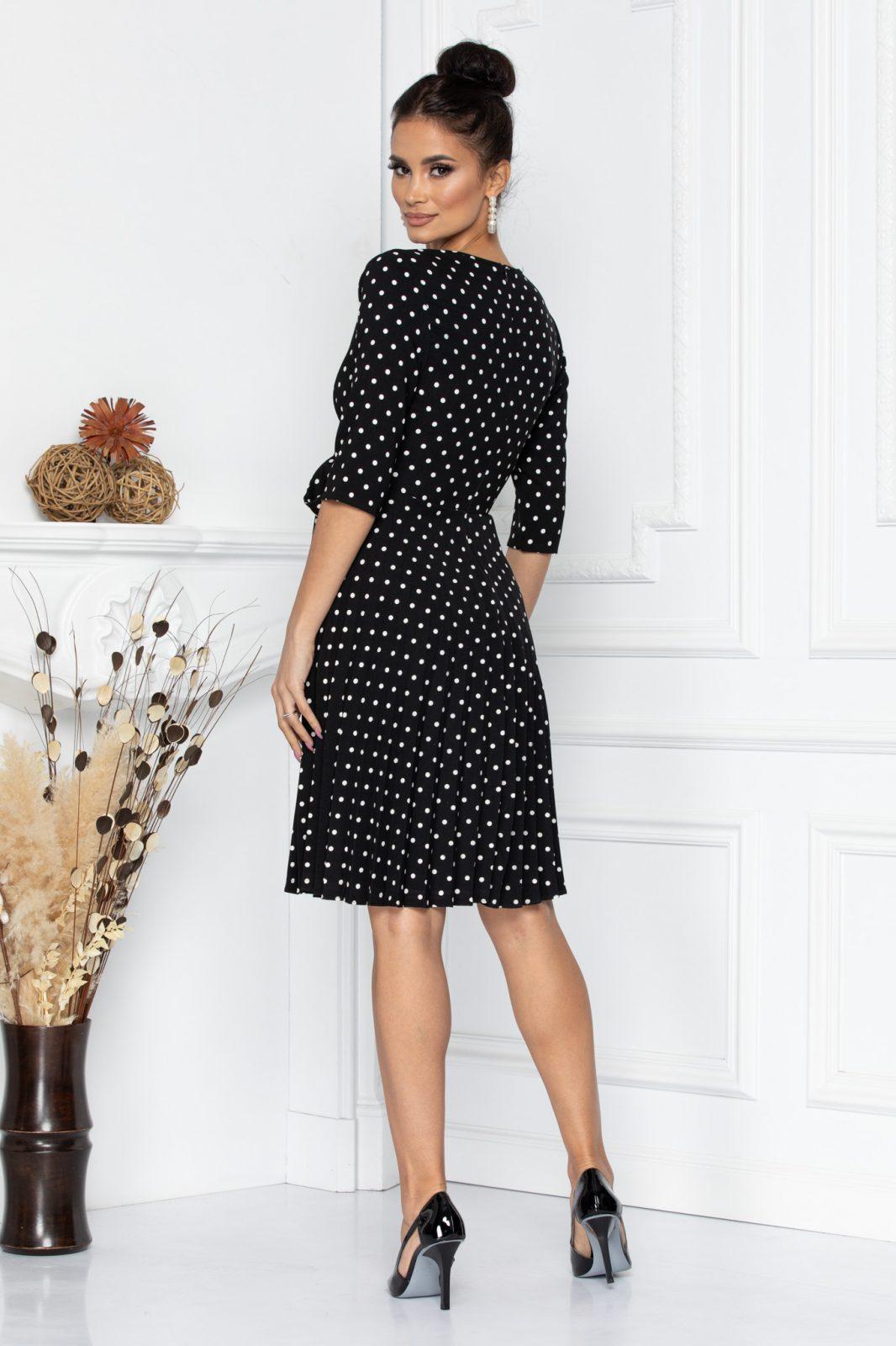 Μαύρο Πουά Πλισέ Φόρεμα Floreal 8054 2