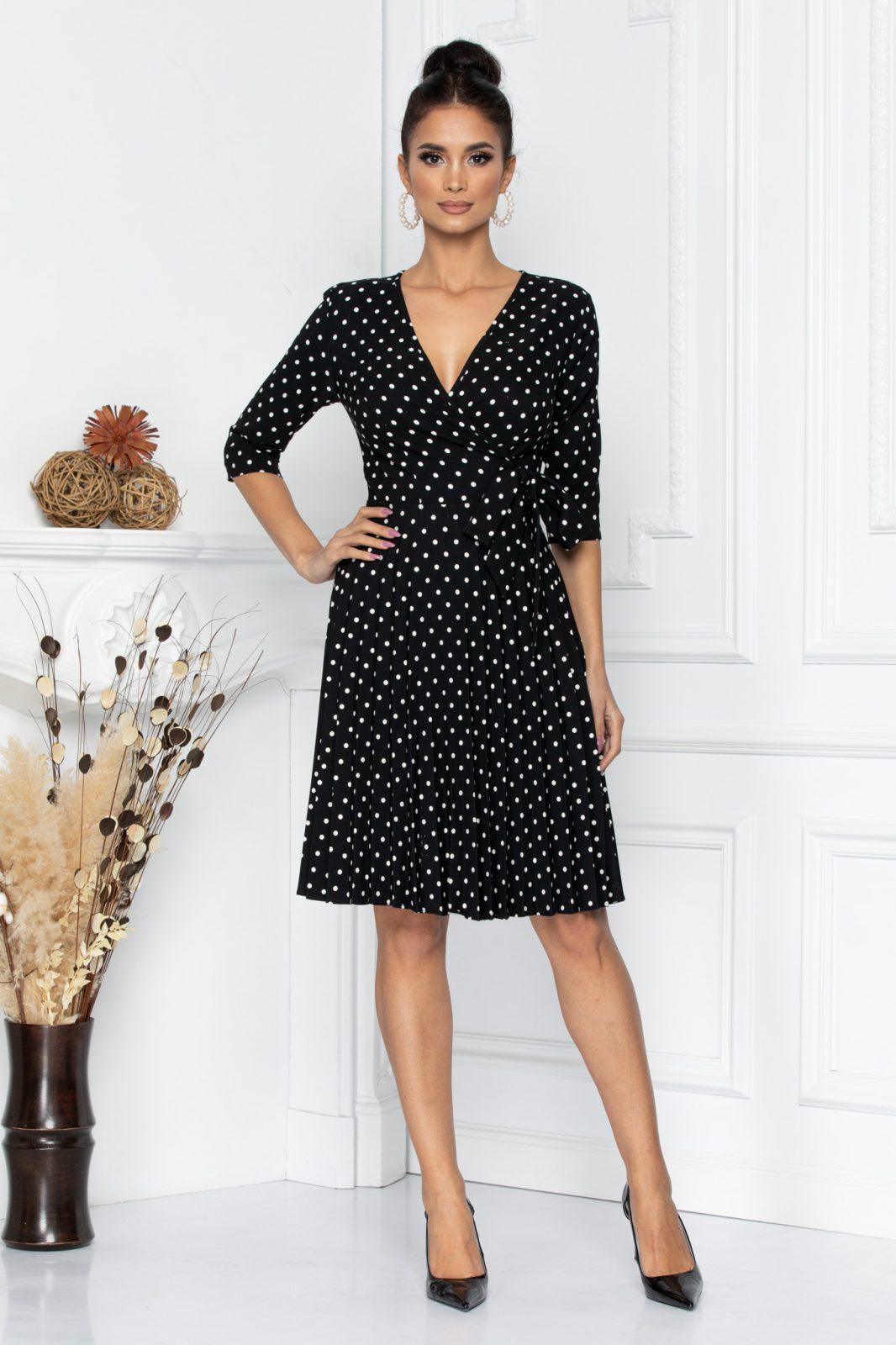Μαύρο Πουά Πλισέ Φόρεμα Floreal 8054 1