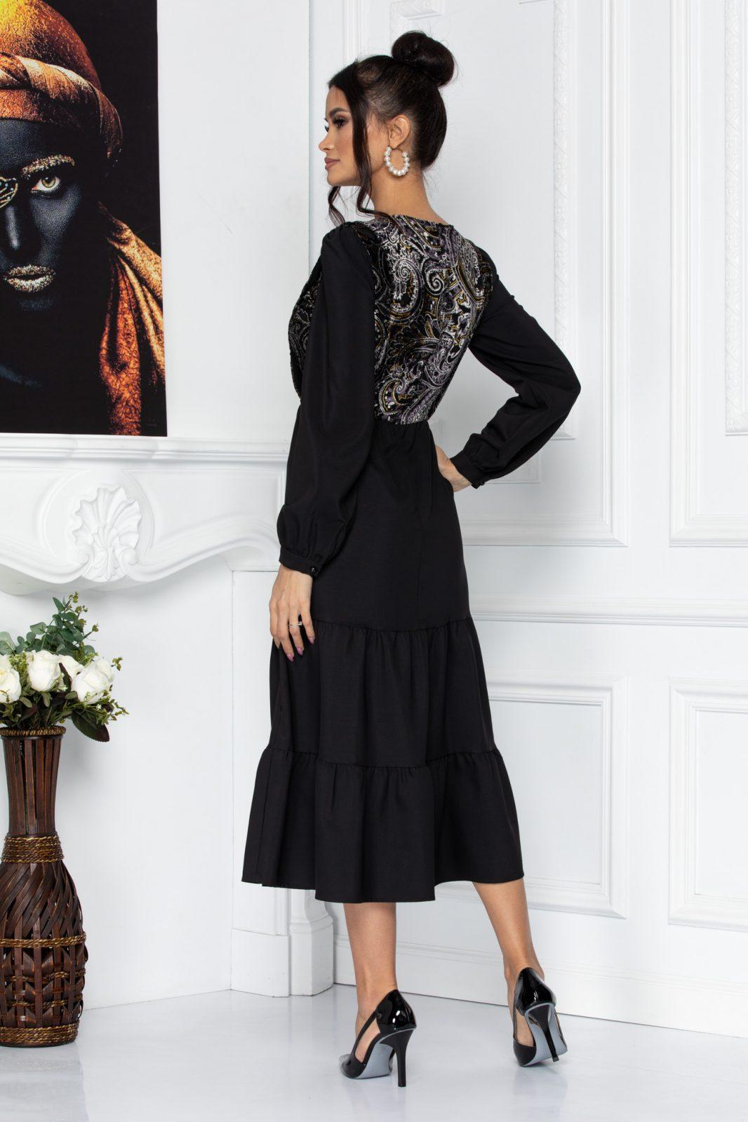 Μαύρο Μίντι Φόρεμα Με Βολάν Kendya 8717