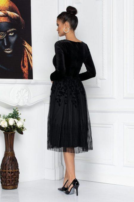 Μαύρο Βραδινό Φόρεμα Με Βελούδο Sammy 8705