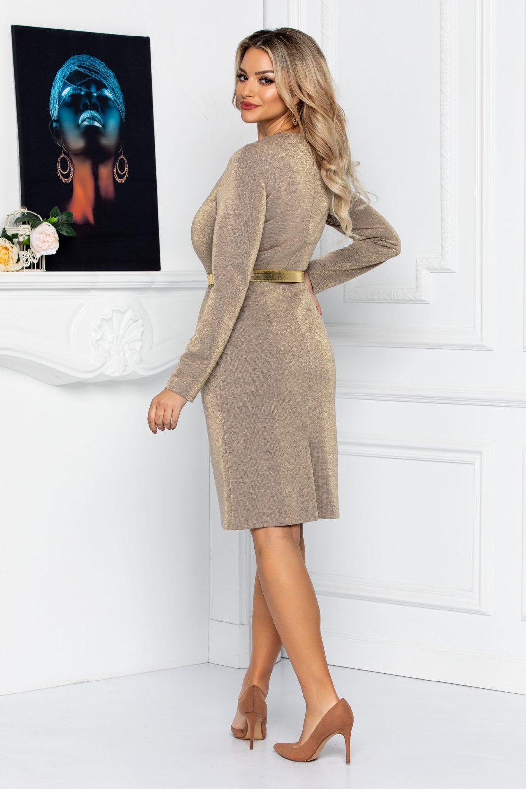 Μπεζ Φόρεμα Με Χρυσή Ζώνη Camy 8744