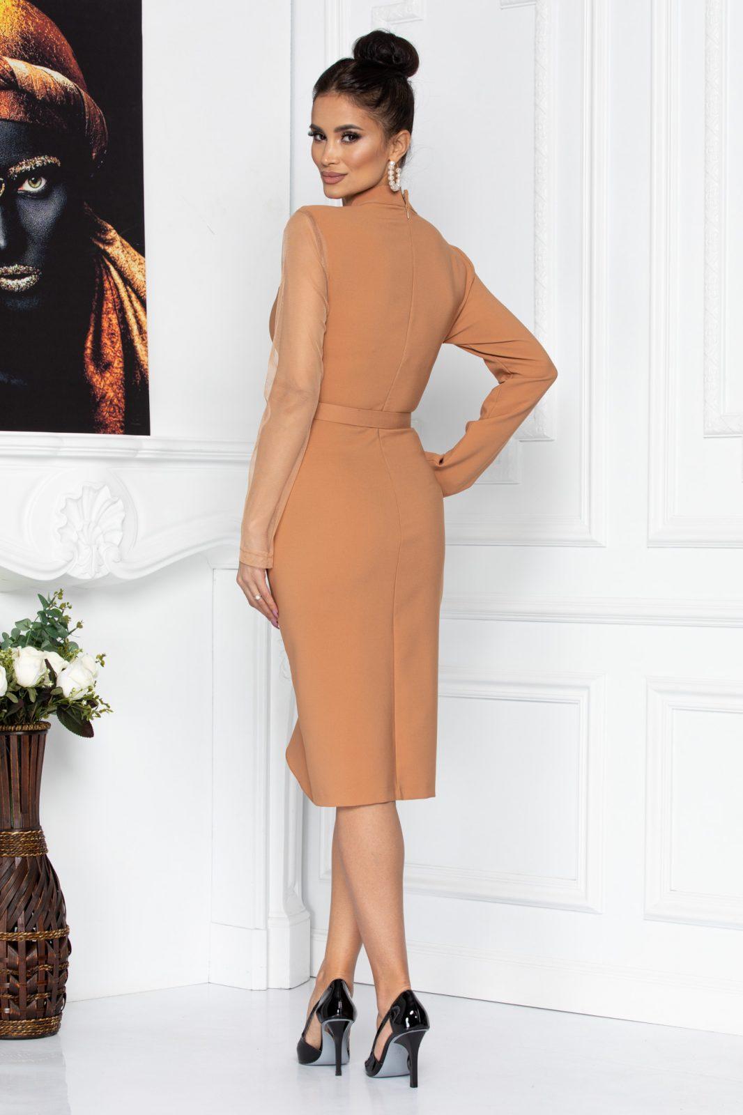 Καραμελέ Βραδινό Φόρεμα Adette 8679 1