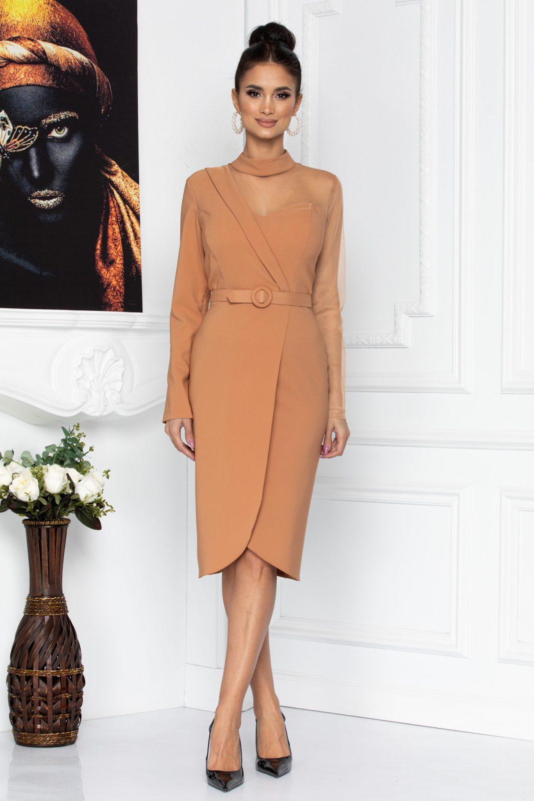Καραμελέ Βραδινό Φόρεμα Adette 8679 2