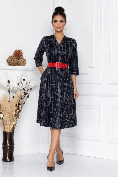 Φόρεμα Γκρι Με Κόκκινη Ζώνη Darlene 8693