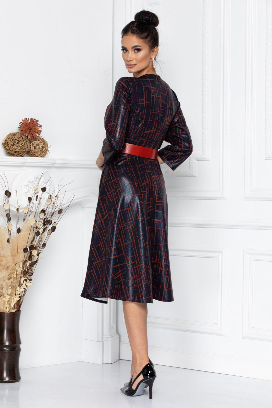 Μαύρο Φόρεμα Με Κόκκινη Ζώνη Darlene 8692