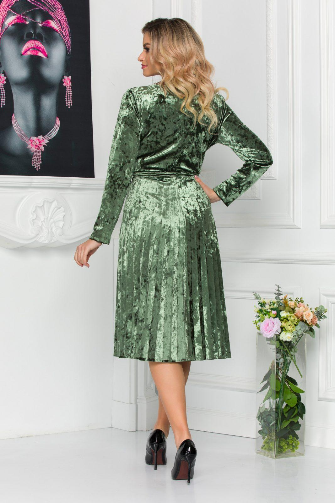 Πράσινο Πλισέ Φόρεμα Από Βελούδο Barbara 8814 1