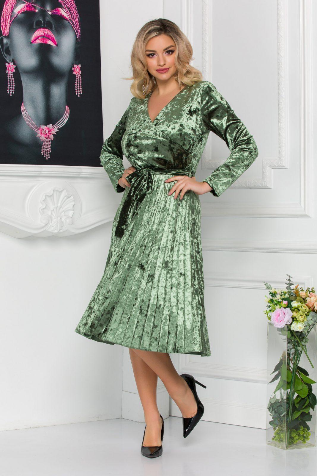 Πράσινο Πλισέ Φόρεμα Από Βελούδο Barbara 8814 2