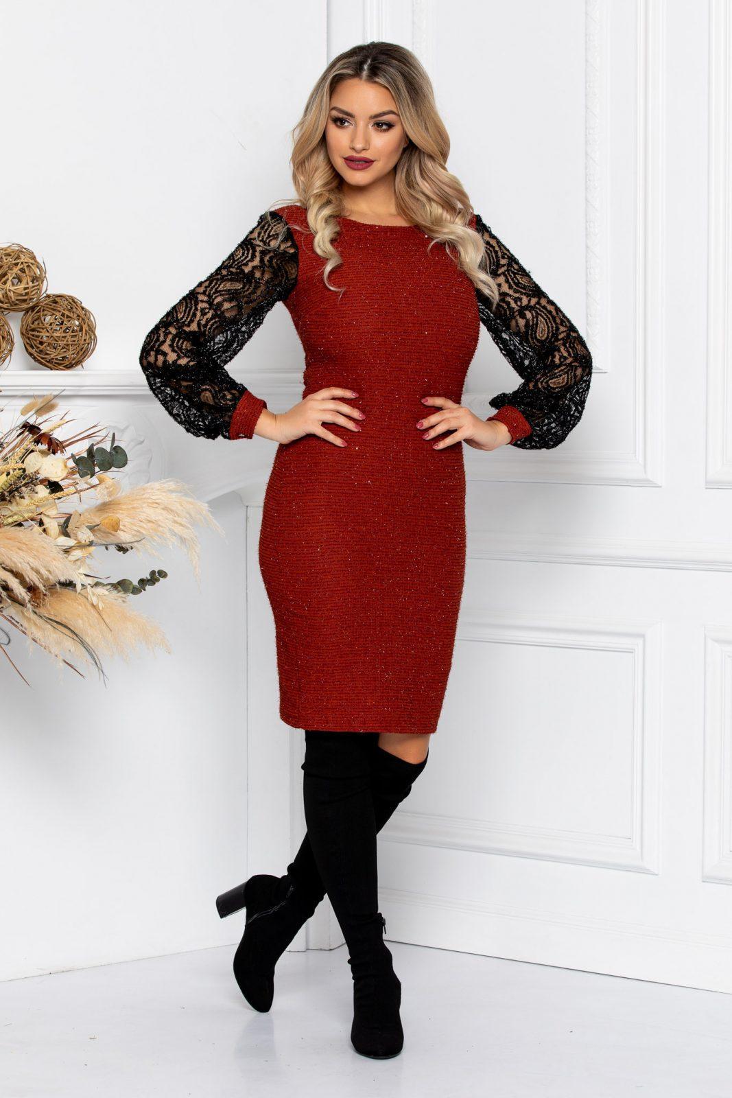 Κεραμιδί Φόρεμα Με Δαντέλα Rory 8737