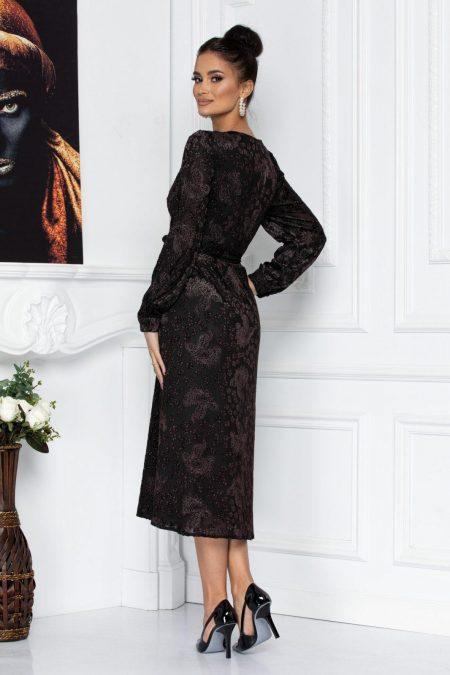 Μαύρο Φόρεμα Με Καφέ Βελούδινα Λουλούδια Mabel 8715