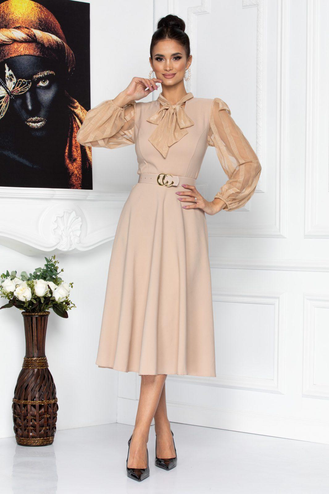 Nude Βραδινό Φόρεμα Με Ζώνη Nima 8670