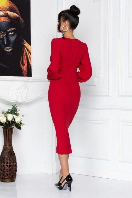 Κόκκινο Μακρυμάνικο Φόρεμα Liza 8704