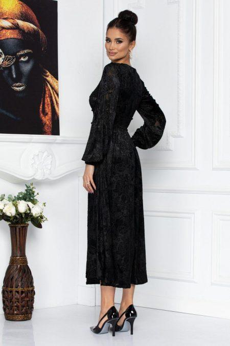 Μαύρο Mίντι Βραδινό Φόρεμα Με Βελούδο Wilma 8706
