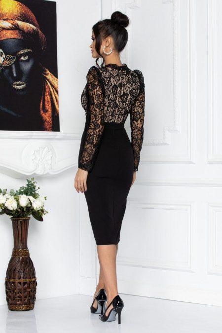 Μαύρο Φόρεμα Με Δαντέλα Tyler 8674