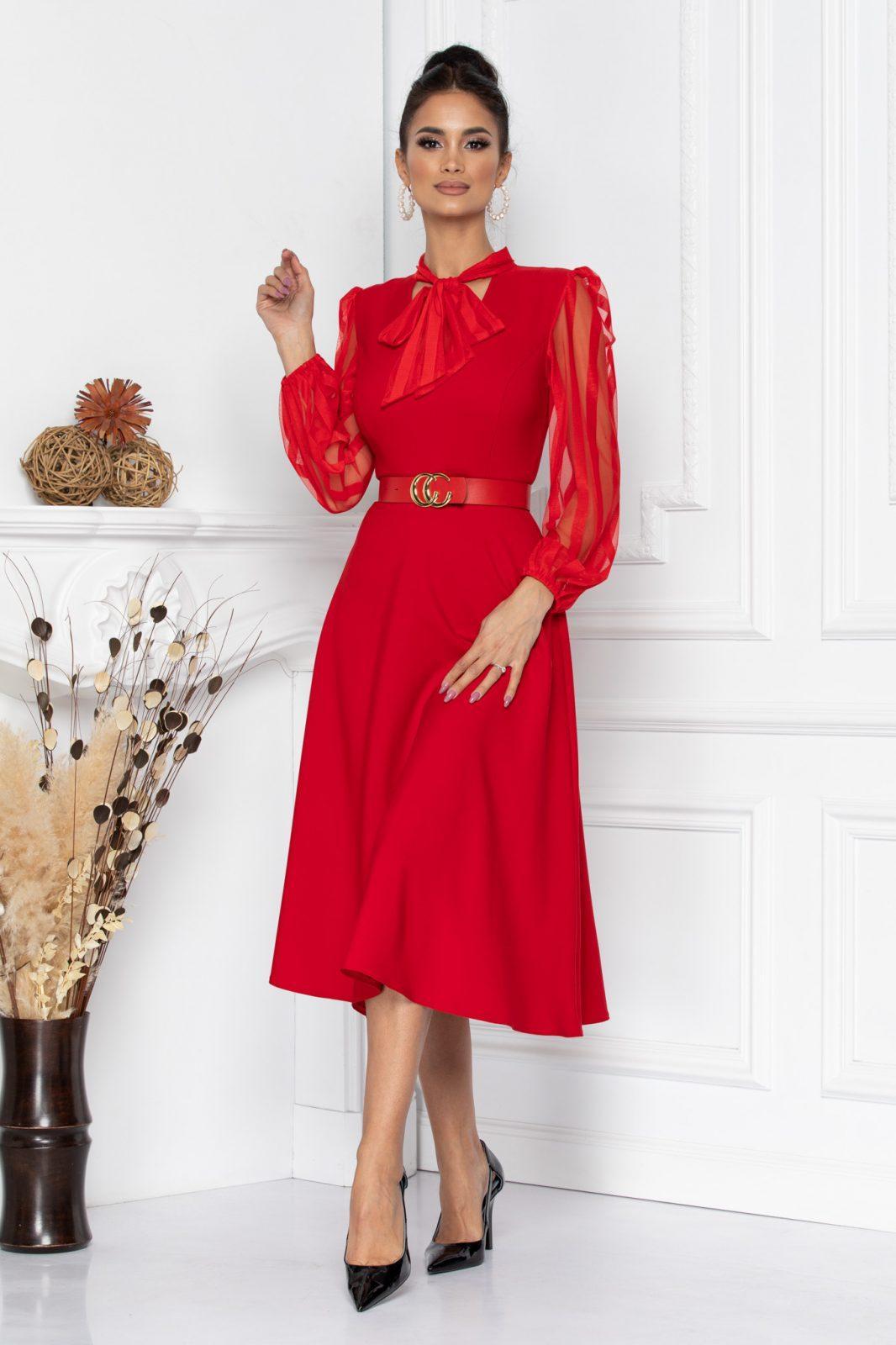 Κόκκινο Βραδινό Φόρεμα Με Ζώνη Nima 8671