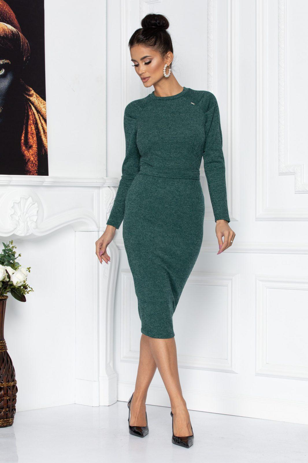 Πράσινο Μίντι Πλεκτό Φόρεμα Cindy 8629