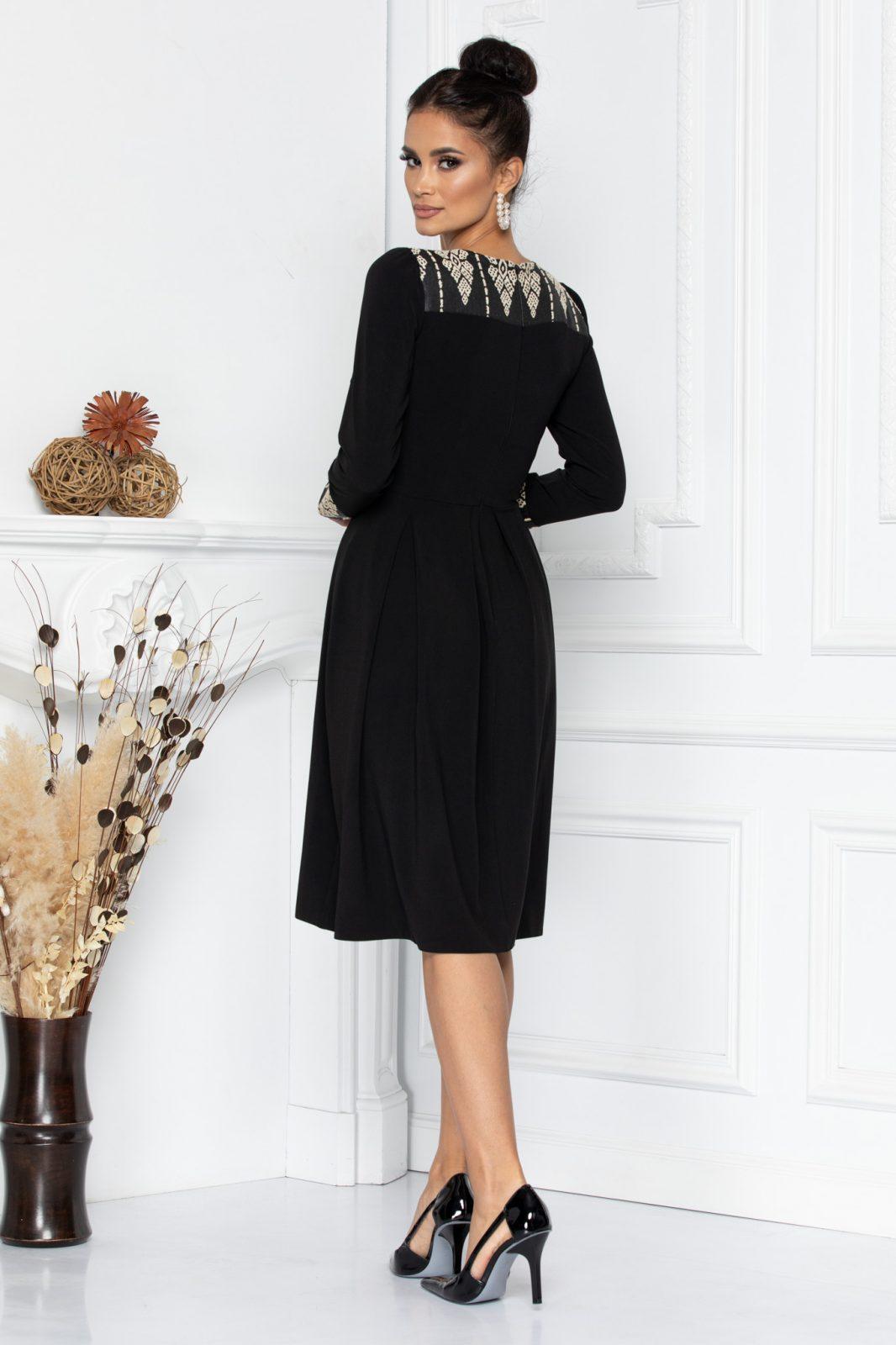 Μαύρο Μίντι Φόρεμα Με Μανσέτα Ruth 8631