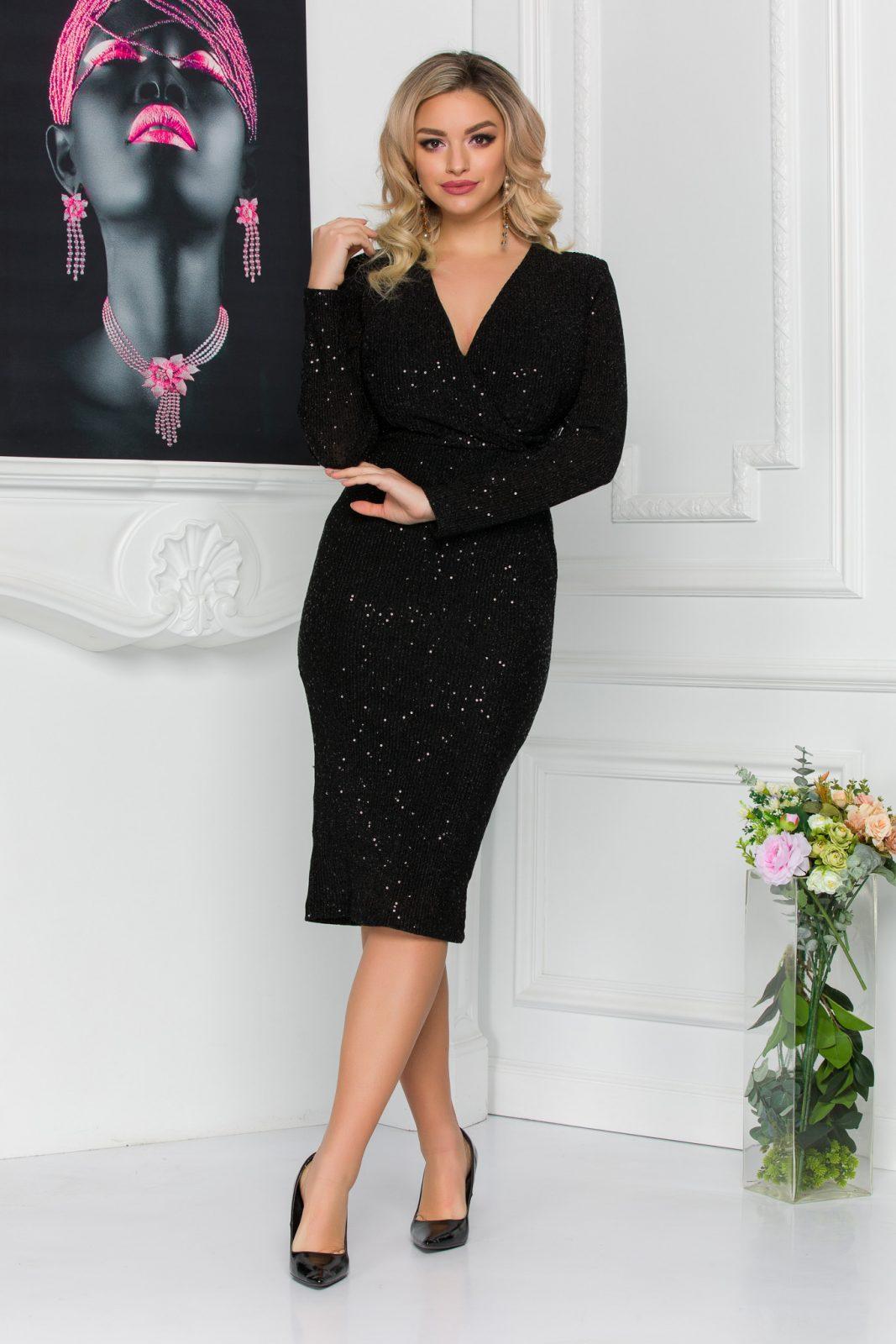 Μαύρο Μίντι Κρουαζέ Φόρεμα Alline 8801 2