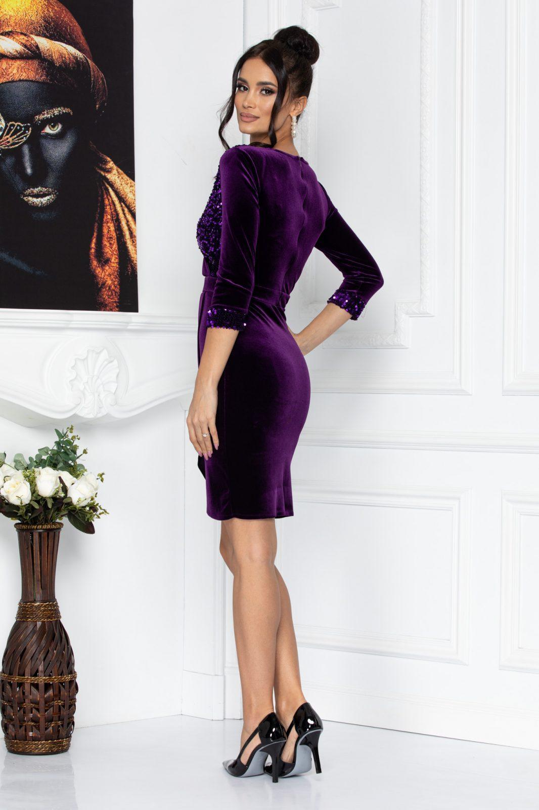 Βιολετί Κρουαζέ Φόρεμα Από Βελούδο Alegria 8698