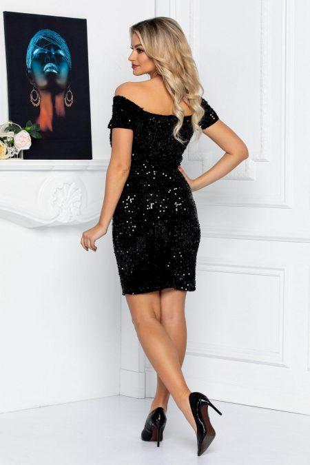 Μαύρο Μίνι Φόρεμα Με Πούλιες Lamia 8683