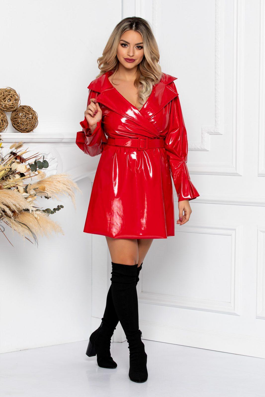 Κόκκινο Μίνι Φόρεμα Από Λουστρίνι Chaboo 8686
