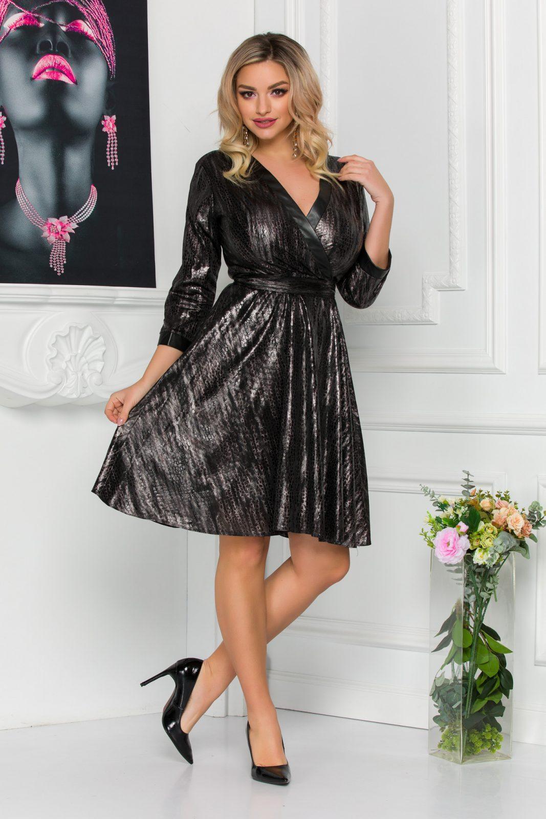 Κρουαζέ Φόρεμα Με Δερματίνη Debora 8864 2