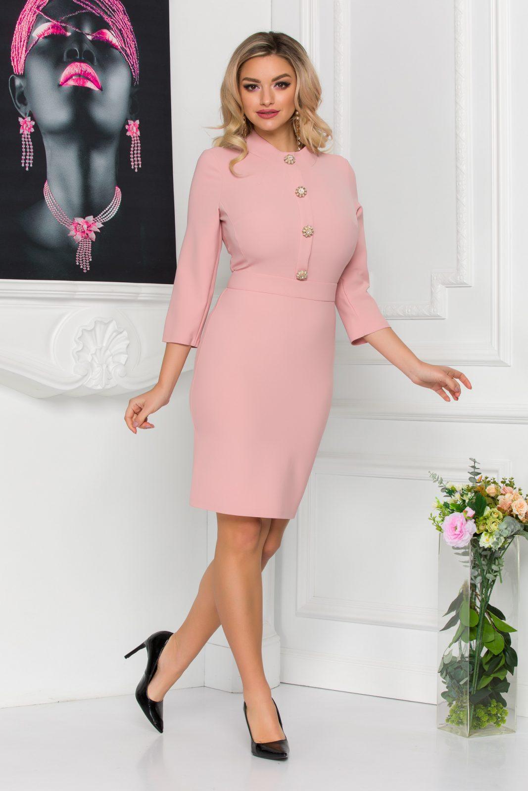 Ροζ Φόρεμα Με Κουμπιά Christie 8793 2