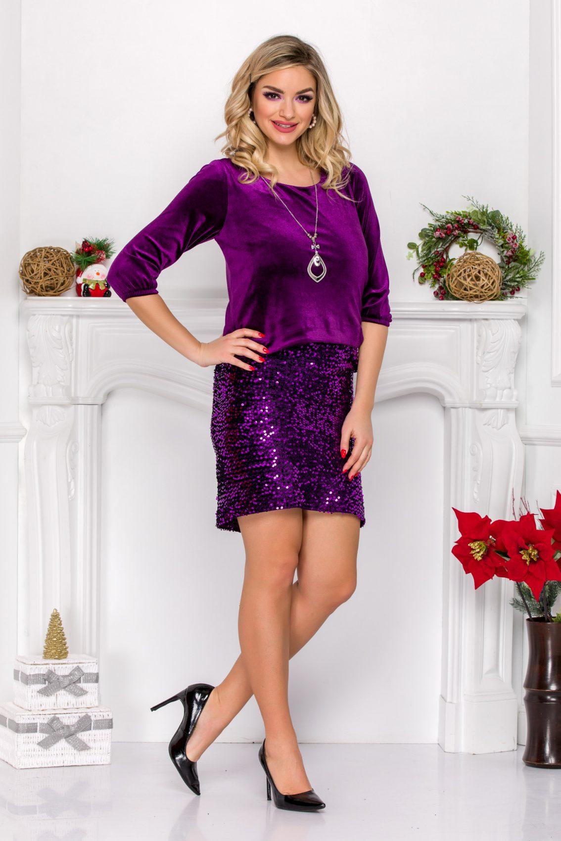 Βιολετί Βραδινό Φόρεμα Με Βελούδο Ollie 9144 2