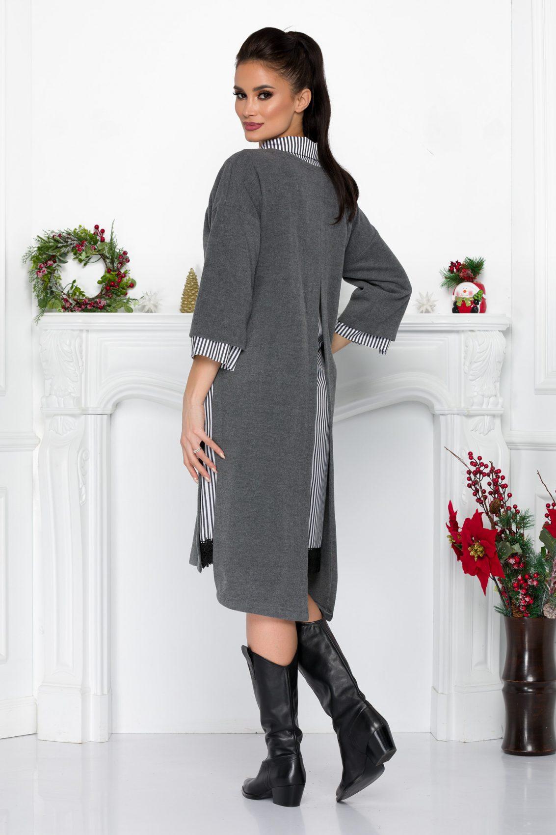 Γκρι Πλεκτό Φόρεμα Με Δαντέλα Soffi 9041 1