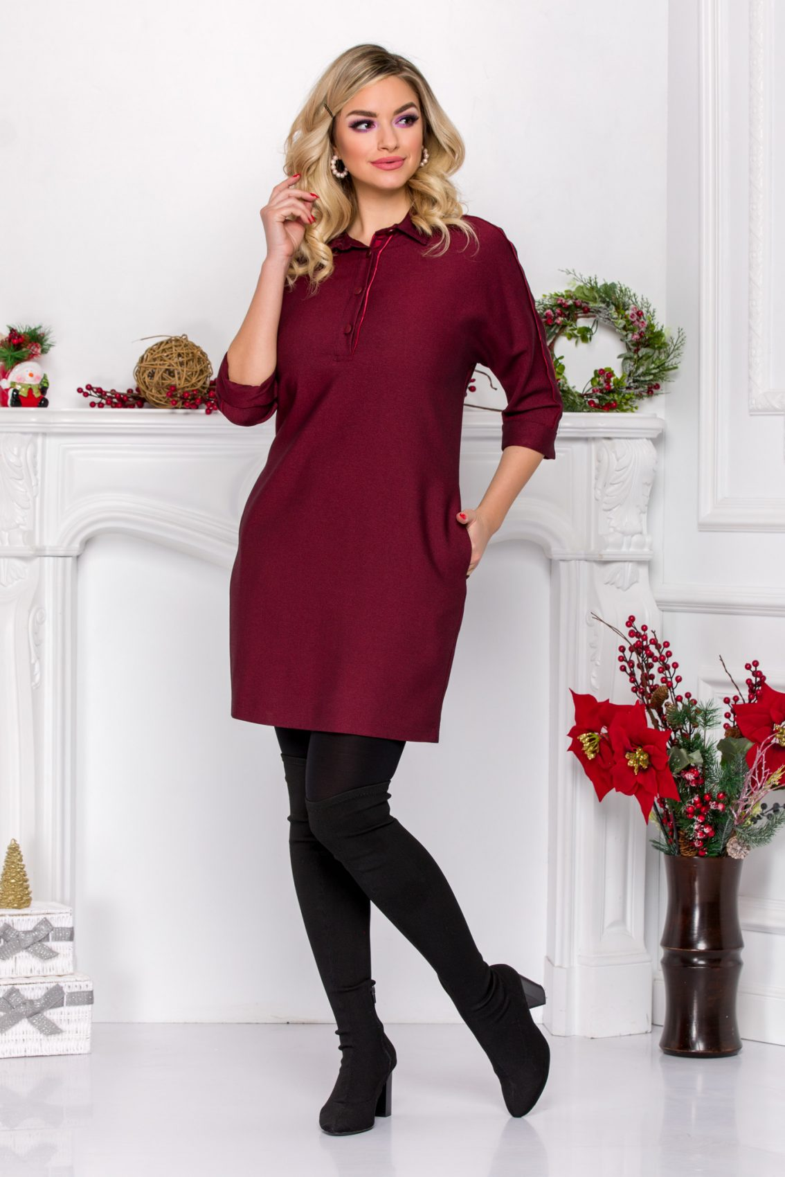 Lorina Burgundy Dress