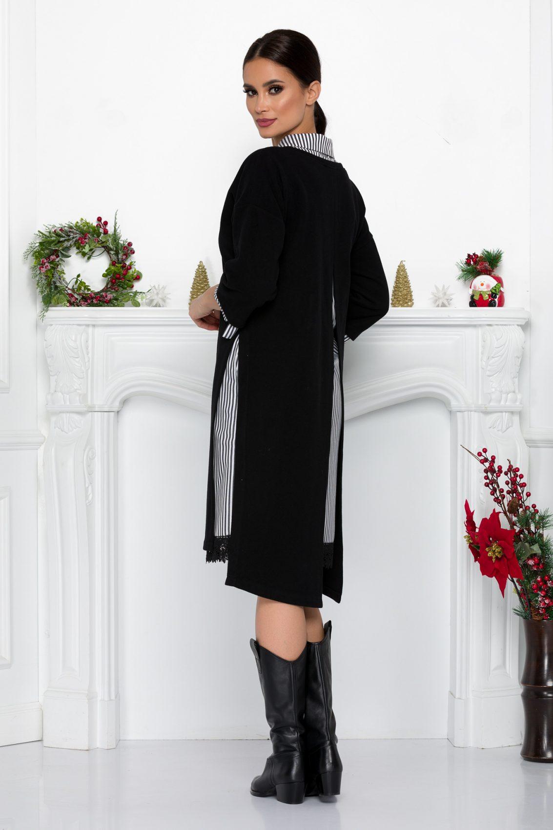 Μαύρο Πλεκτό Φόρεμα Με Δαντέλα Soffi 9042 1