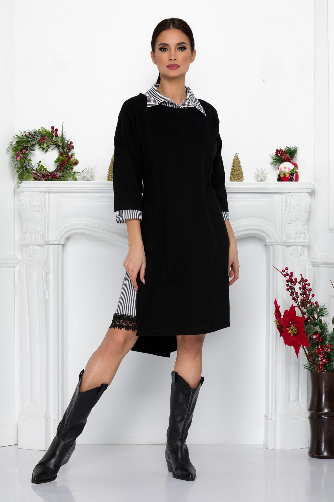 Μαύρο Πλεκτό Φόρεμα Με Δαντέλα Soffi 9042 2