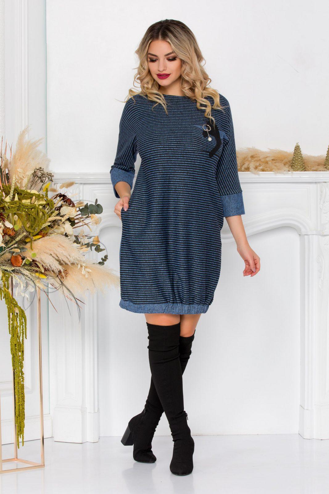 Μπλε Πλεκτό Ριγέ Φόρεμα Plus Size Nisha 8911 1