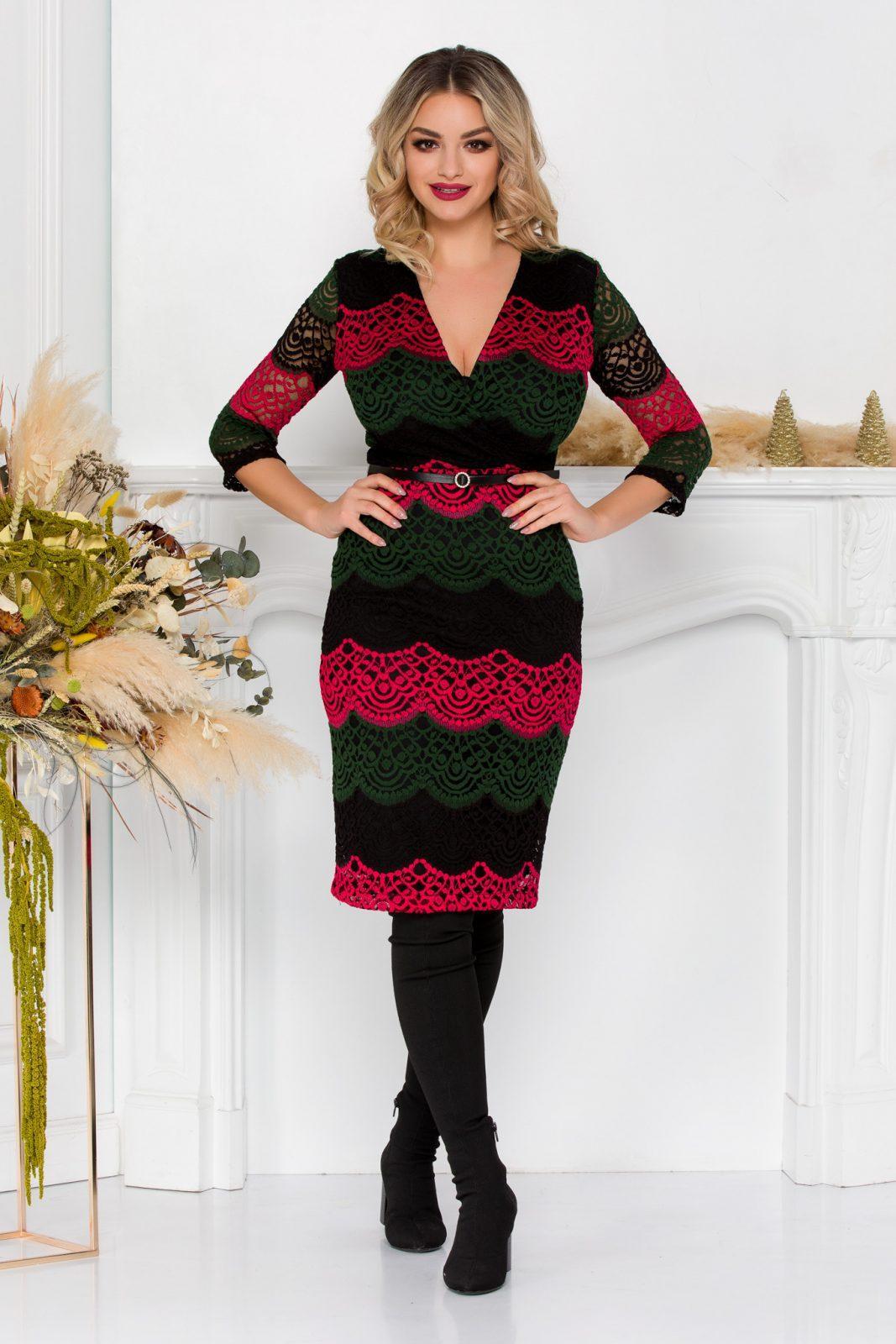 Μίντι Κρουαζέ Φόρεμα Από Δαντέλα Veronika 8930 2