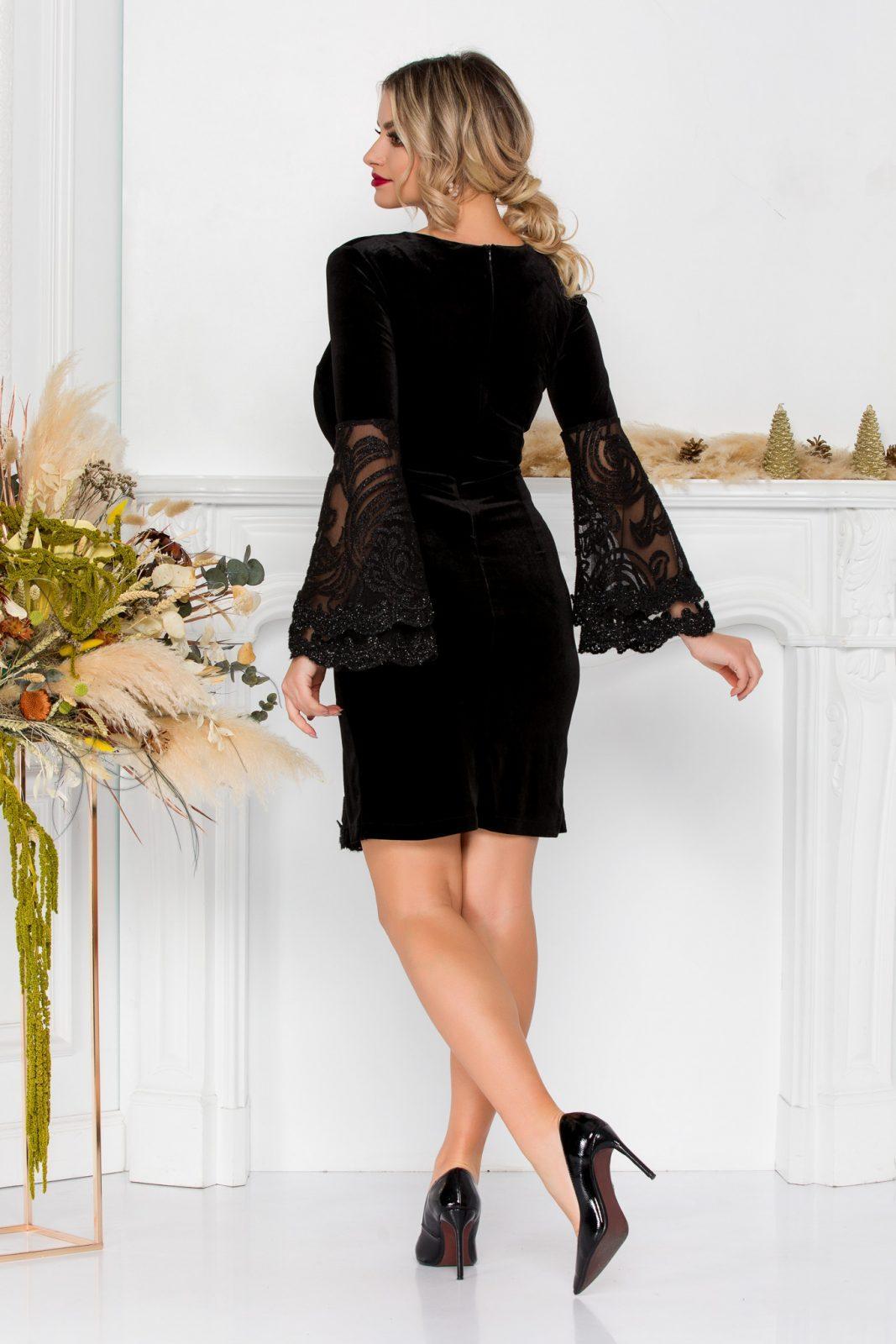 Μαύρο Φόρεμα Με Δαντέλα Ivonne 8897 2