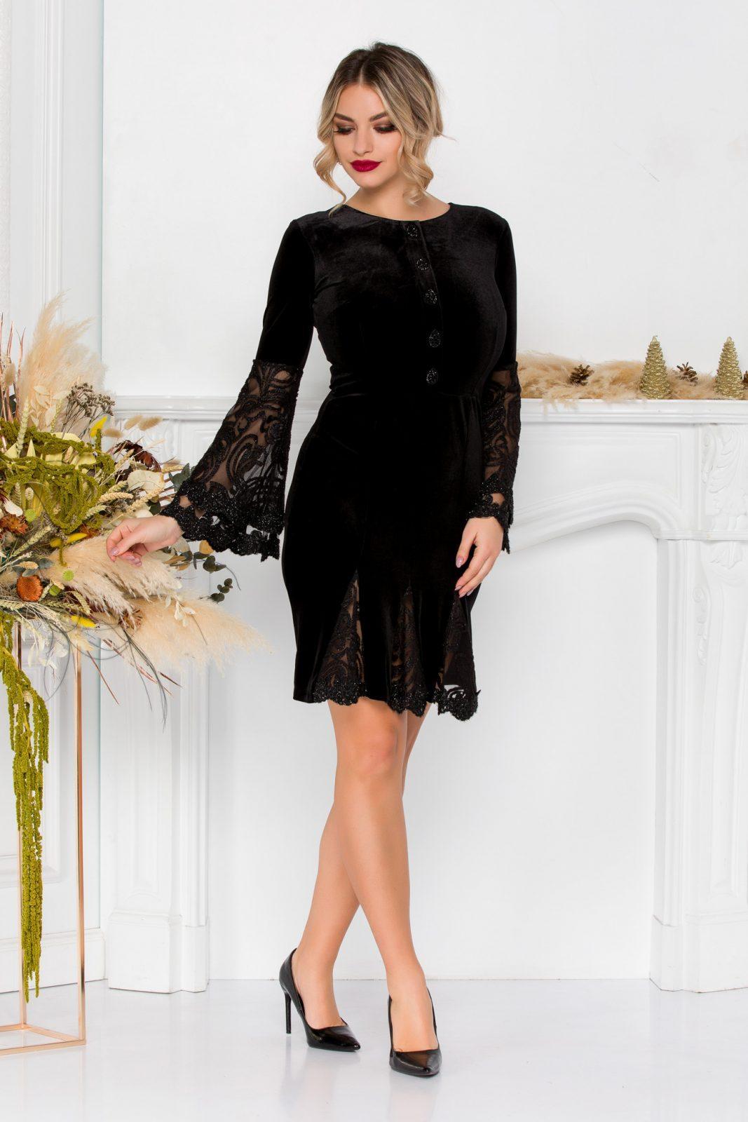 Μαύρο Φόρεμα Με Δαντέλα Ivonne 8897 3