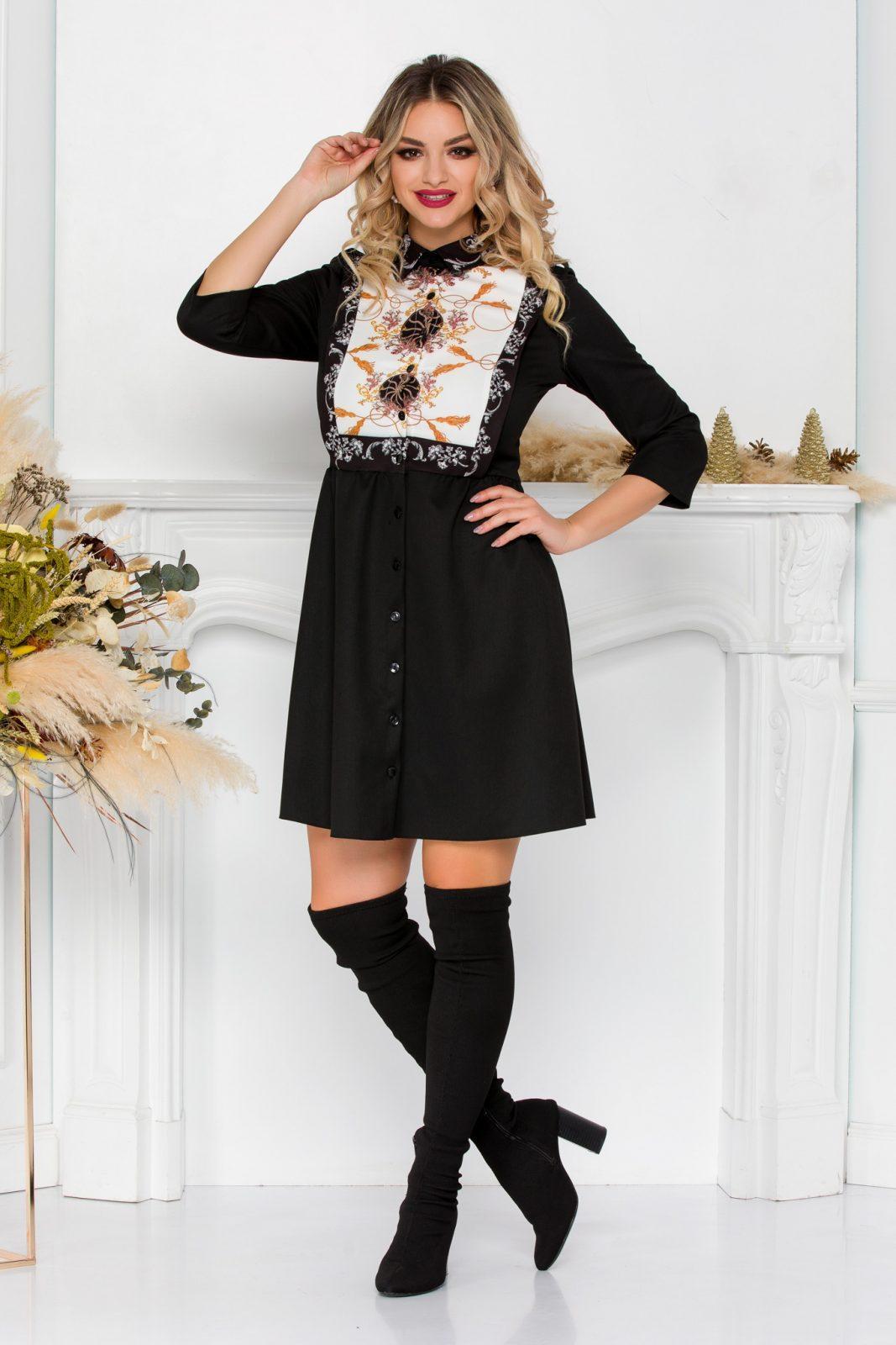 Μαύρο Φόρεμα Με Κουμπιά Adalya 8961 1