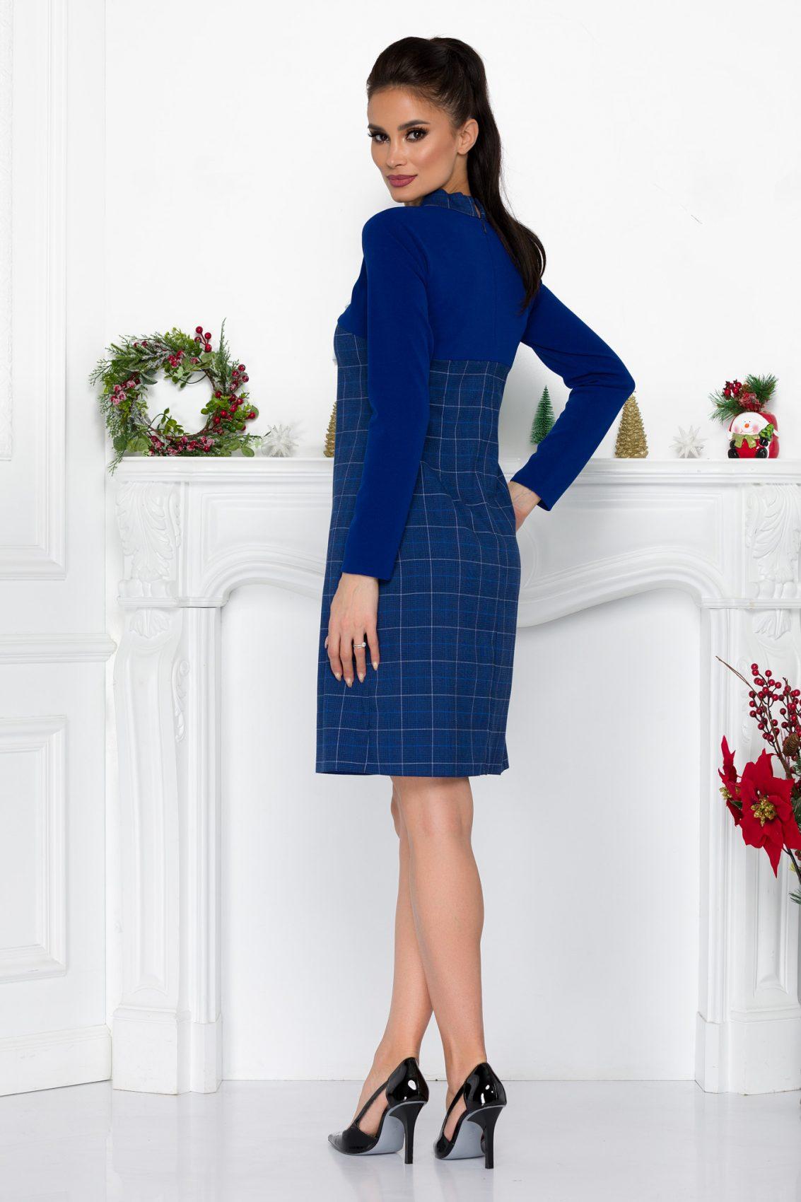 Μπλε Καρό Φόρεμα Με Φιόγκο Fernanda 9027 1