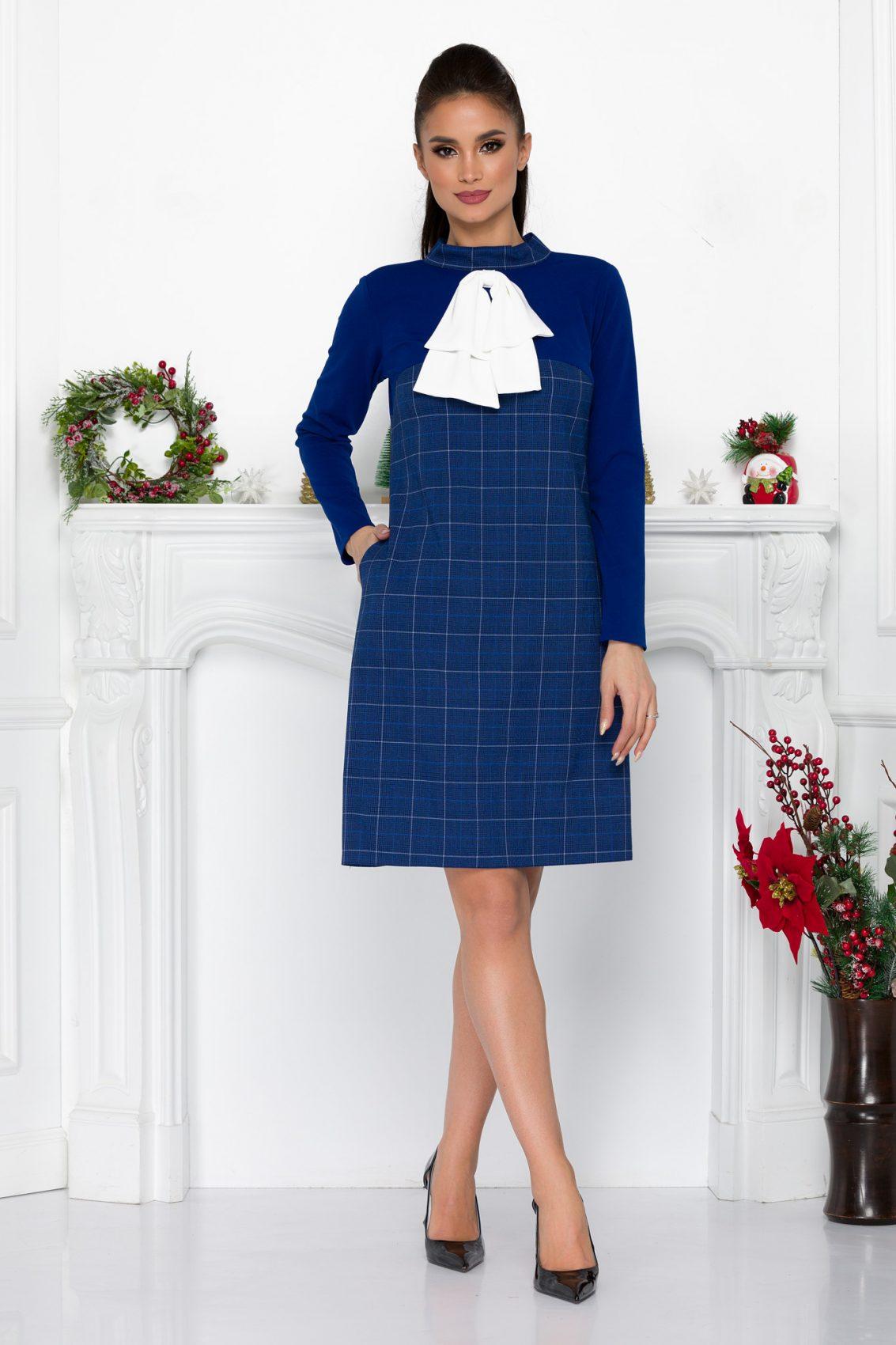 Μπλε Καρό Φόρεμα Με Φιόγκο Fernanda 9027 2