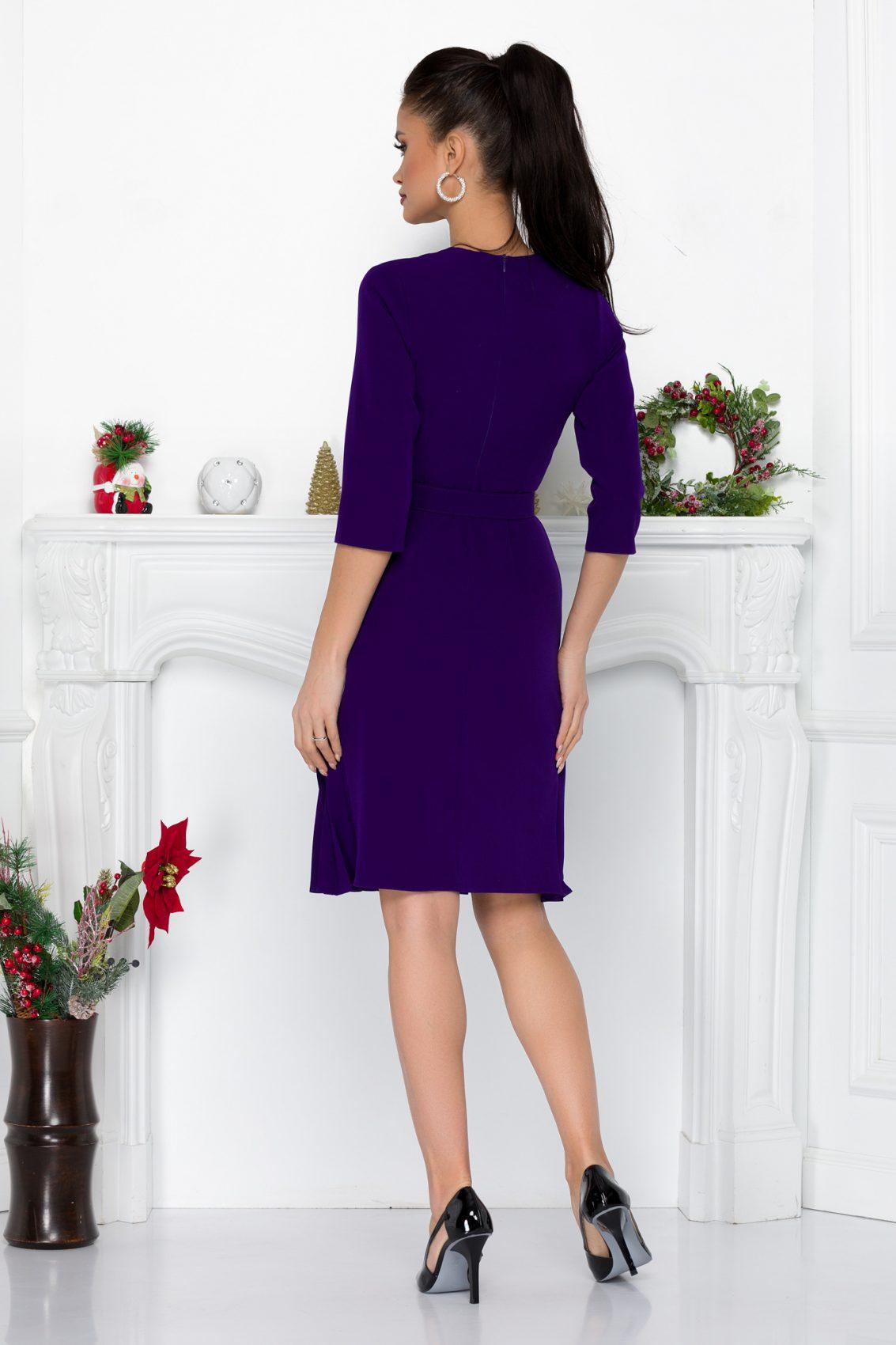 Βιολετί Φόρεμα Με Ζώνη Bonnie 8993 1