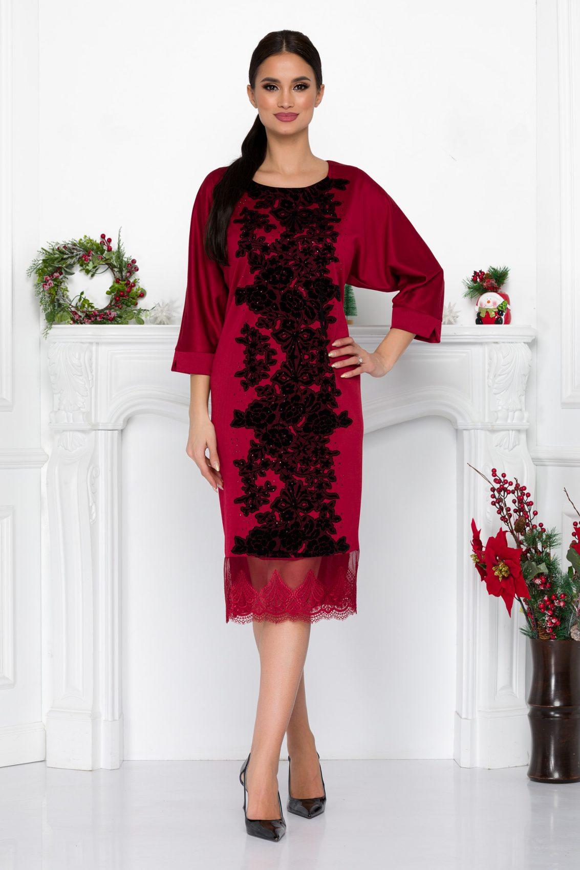 Μπορντό Φόρεμα Με Βελούδινα Λουλούδια Mirya 9046 2