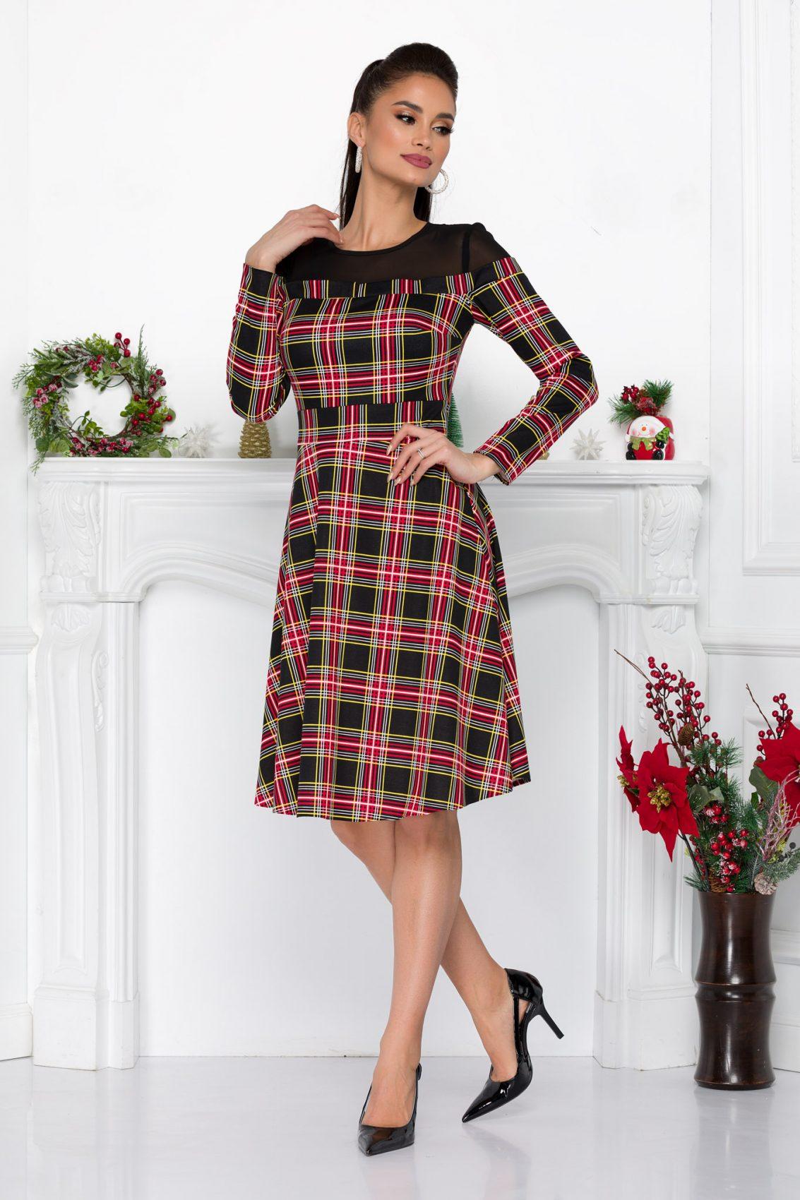 Καρό Μακρυμάνικο Φόρεμα Monika 9022 1